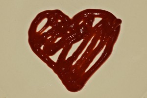 Yes, I sure did take and 'paint' a ketchup heart for a photo...
