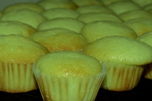 Green mint mini cupcakes for our bake sale tomorrow.