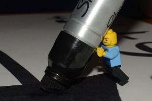 Hank helping make signs for our garage sale tomorrow... guess I could have given him a smaller marker!